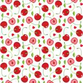 Cherries and hearts seamless pattern — Stock Vector