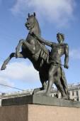 Sculpture on Anichkovy Bridge. St. Petersburg — Stock Photo