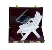 Beach Chair and Laptop in a Briefcase — Stock Photo