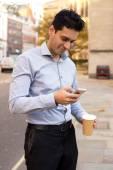 Coffee and phone — Stock Photo