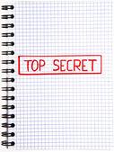 Notizblock mit einer streng geheimen markierung — Stockfoto