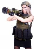 Woman in a military camouflage with a grenade launcher — Foto de Stock