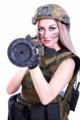 Woman in a military camouflage with a bazooka — Stock Photo