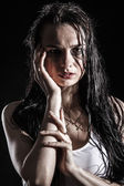 Wet upset woman with a flowed ink — Stock Photo