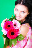 Spring portrait of a beautiful young brunette — ストック写真