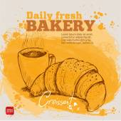 Watercolor background with sketch style croissant an cup of coffee. Hand drawn design for your business. — Stock Vector