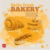 Confectionery. set of vector sketches on watercolor background — Stock vektor
