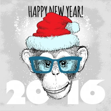 Merry Christmas and Happy New Year vector illustration with chimpanzee monkey face in hipster glasses