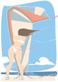 Kiteboarding wind — Stock Vector