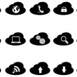 Black cloud icons set — Stock Vector