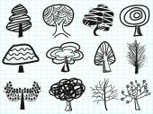 Doodle tree icons — Stock Vector