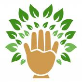 Hand tree symbol — Stockvektor