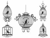 Birds and birdcages — Stock Vector