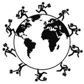 Business people running around the world — Stock Vector