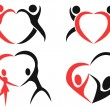 Abstract people with heart symbols — Stock Vector #61580715