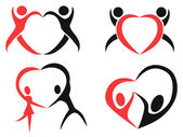 Abstract people with heart symbols — Stock Vector