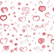 Doodle red hearts  pattern — Stock Vector #64126127