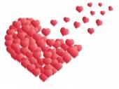 Red hearts flying — Stok Vektör