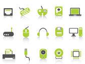 Computer device icons set — Vector de stock