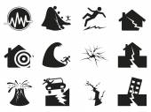 Black earthquake icons set — Stock Vector