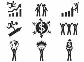 Successful businessman pictogram icons — Stock Vector
