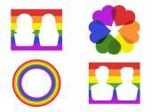 Color gay symbol icons — Stock Vector
