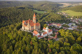 Aerial view of well preserved gothic castle Bouzov — Stock Photo