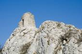 Ruin of the gothic tower on the cliff — Stock Photo