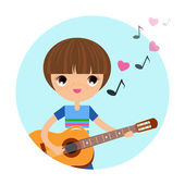 The boy with the guitar — Stock Vector