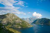 Boka Kotorska bay panorama from the mountain above — Stock Photo