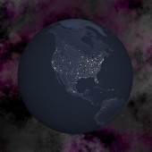 Earth by night - 3D render — Stock Photo