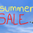 Summer sale message from biplan smoke - 3D render — Stock Photo #55102489