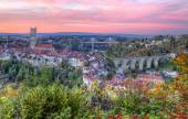 View of cathedral, Poya and Zaehringen bridge, Fribourg, Switzerland, HDR — Stock Photo