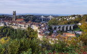 View of cathedral, Poya and Zaehringen bridge, Fribourg, Switzerland, HDR — Stockfoto