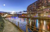 Rhone river, Sous-Terre bridge and buildings, Geneva, Switzerland, HDR — Stockfoto