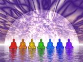 Chakra buddhas - 3D render — Stock Photo
