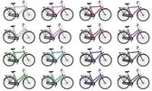Set of colorful male and female bicycles - 3D render — Stock Photo