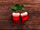 Dripping cherry — Foto Stock