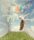 Woman Floating like Levitation Fantasy Image — Stock Photo
