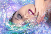 Beauty Image of a Woman Wrapped in Cellophane — Stock Photo