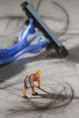 Tiny Miniature Scaled People in Curious Concepts — Stock Photo