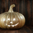 Halloween Pumpkin on Wood Grunge Rustick Background — Stock Photo #53328537