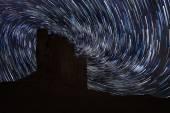 Star Trails in Monument Valley Navajo Nation Arizona — Stock Photo