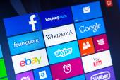 WROCLAW, POLAND - AUGUST 26, 2014: Photo of a Windows 8.1 operated laptop - start screen with most popular apps — Stock Photo