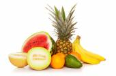 Tropical fruits isolated on white background — Stock Photo