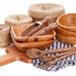 Natural bamboo kitchenware — Stok fotoğraf #65151781