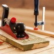 Woodworking tools on a carpenters table — Stock Photo #72696065