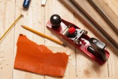 Woodworking tools on a carpenters table — Stock Photo