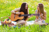 Two beautiful young women on a picnic — Stock Photo