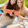 Two beautiful young women on a picnic — Stock Photo #74255897